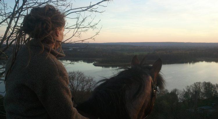 Mit dem Pferd unterwegs in Oderberg.