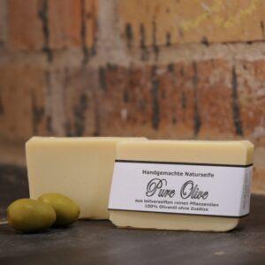 """Produktfoto der palmölfreien Seife """"Pure Olive"""" von Seifengarten in Oderberg"""