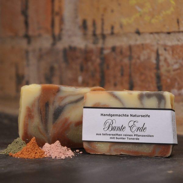 """Produktfoto der palmölfreien Seife """"Bunte Erde"""" von Seifengarten in Oderberg"""