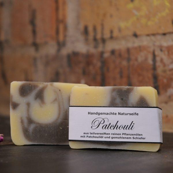 """Produktfoto der palmölfreien Seife """"Patchouli"""" von Seifengarten in Oderberg"""